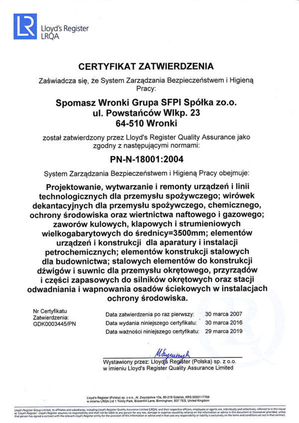 Certyfikat PN 18001:2004