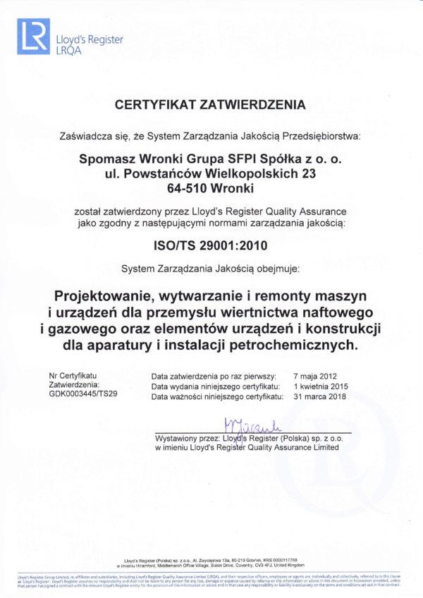 Certyfikat ISO/TS 29001:2010