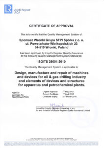 Certificate ISO/TS-29001-2010