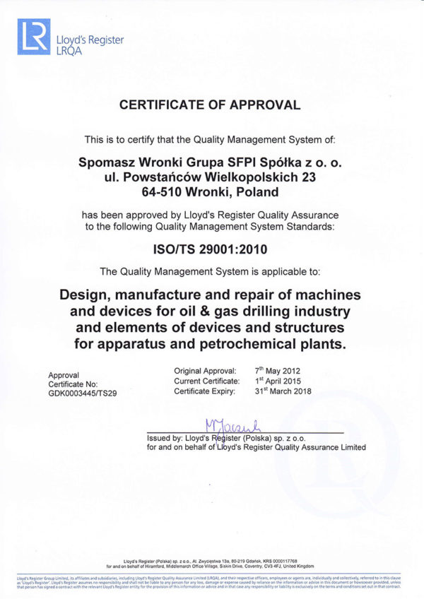 Certificate ISO/TS-29001-2010