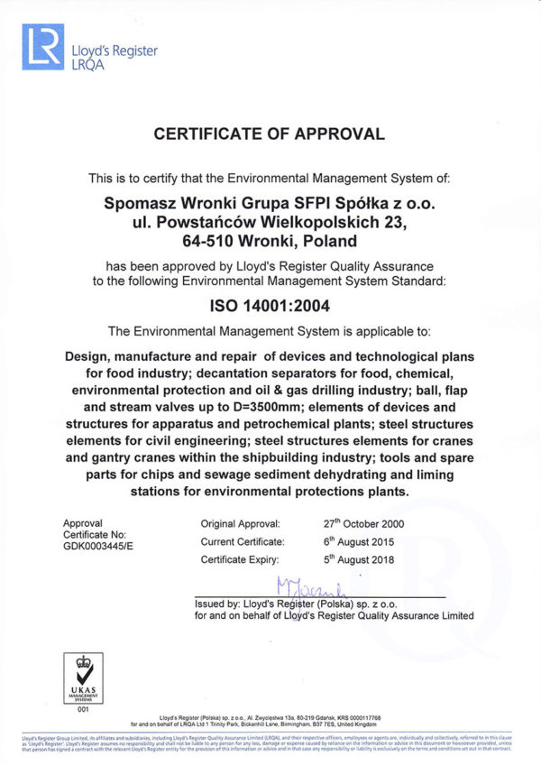 Certificate ISO 14001-2004