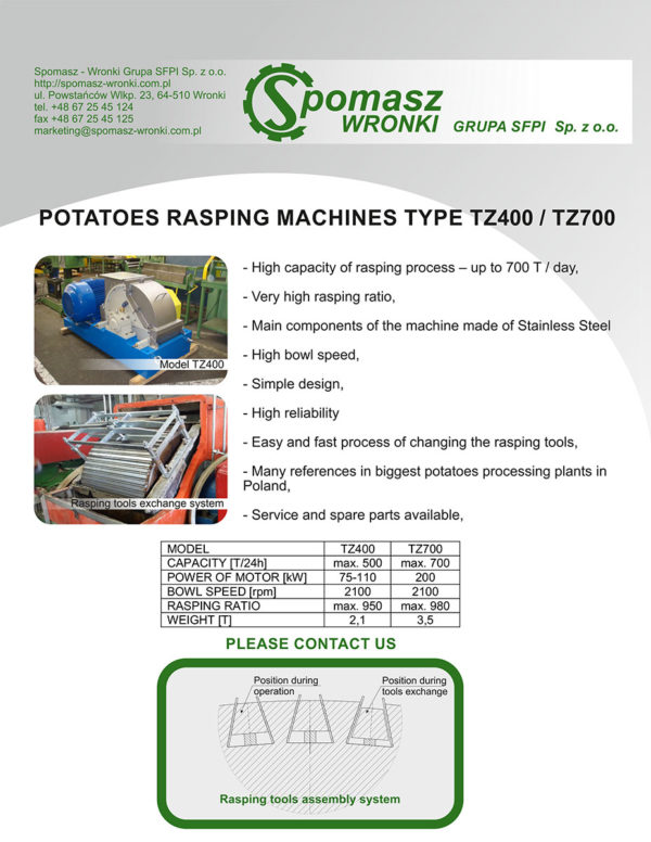 Potatoes rasping machines
