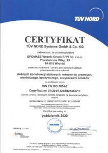 Certyfikat DIN EN ISO 3834-2