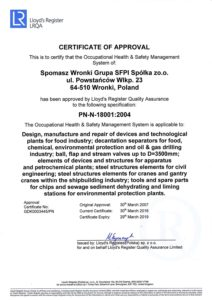 Certificate PN-N-18001-2004