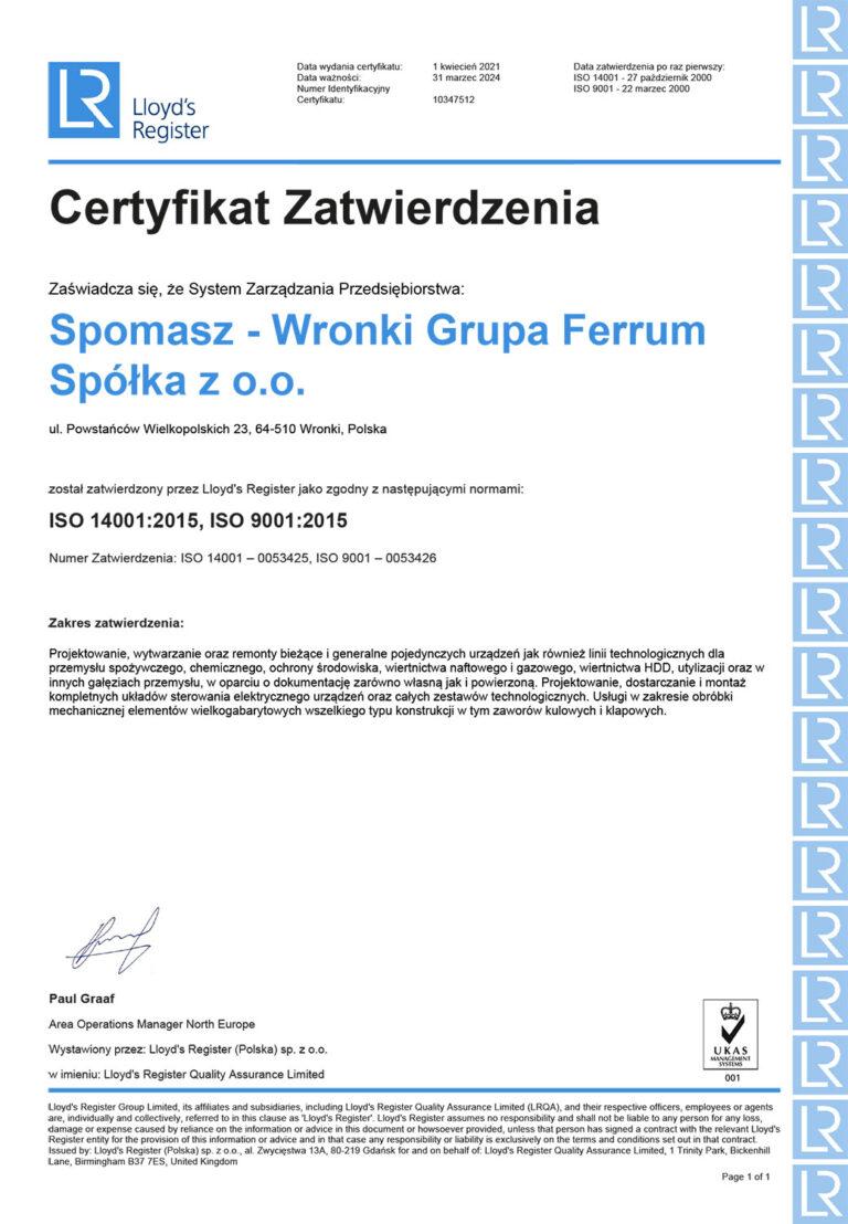 Certyfikat ISO 14001:2015, ISO-9001:2015